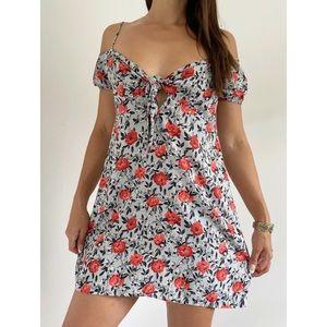 MOTEL Pink Grey Floral Cold Shoulder Dress Size L